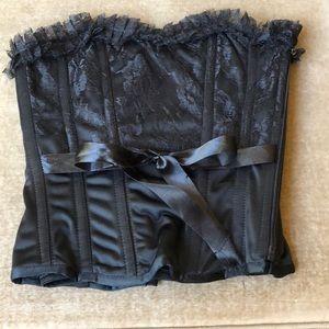 Black lace up corset medium EUC zipper side
